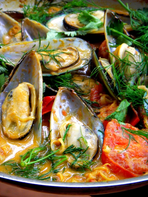 golden mussel chowder mussel soup with avocado tomato and dill recipe ...