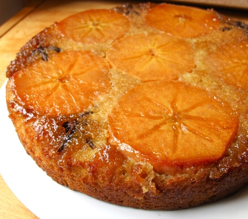 Fuyu Persimmon Upside Down Cake