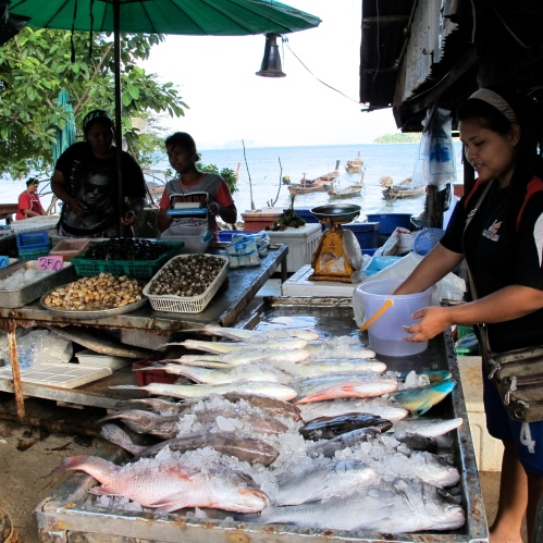 A fish stand on Rawai beach at sea gypsy village