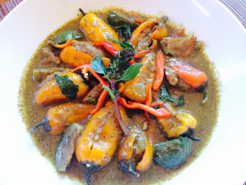 Stuffed Sweet Pepper Thai Green Curry with Thai Eggplant