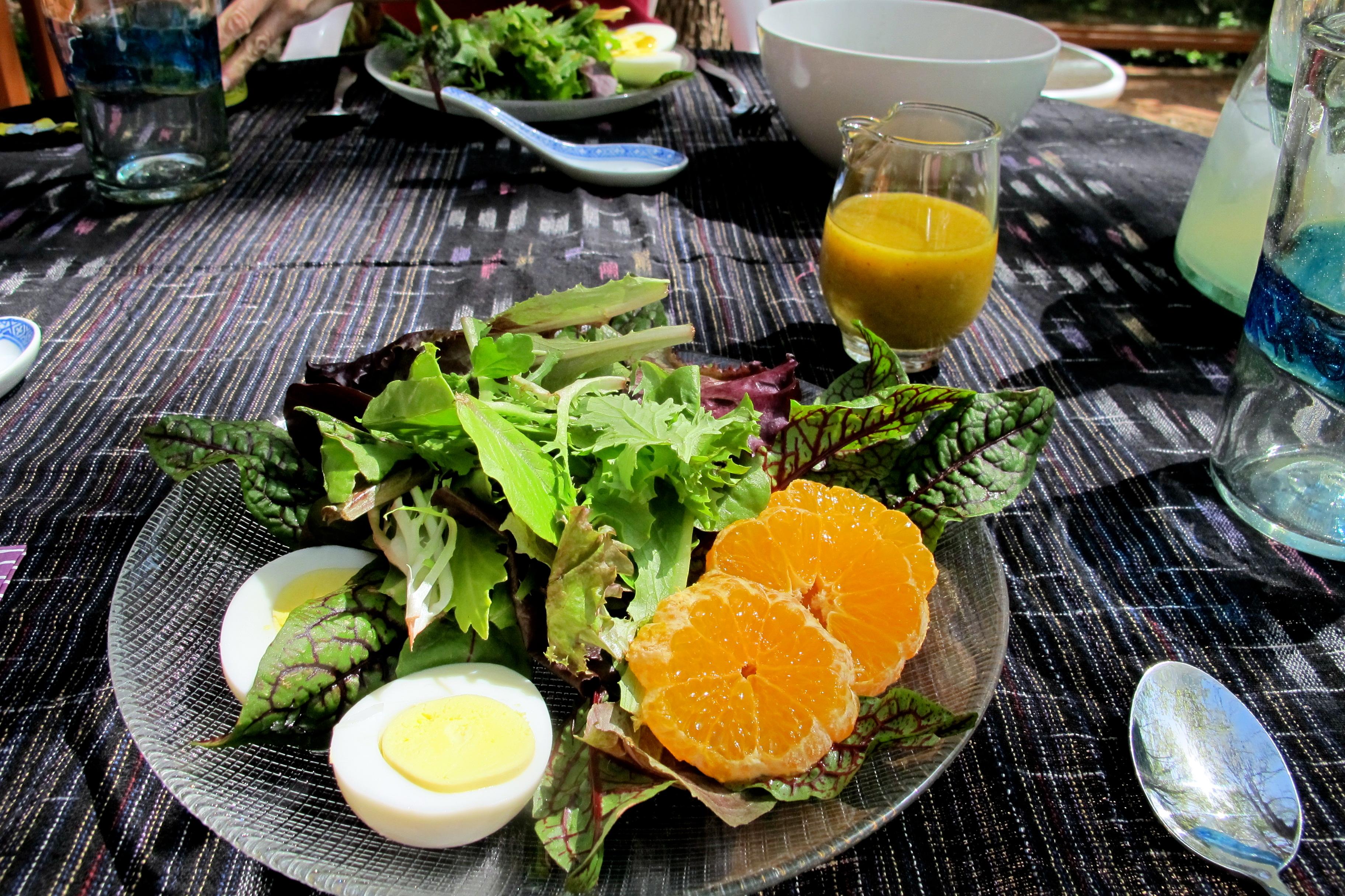 Mixed Salad Green, Hard-Boil Egg and Mandarin Orange with Sweet Chili Vinaigrette